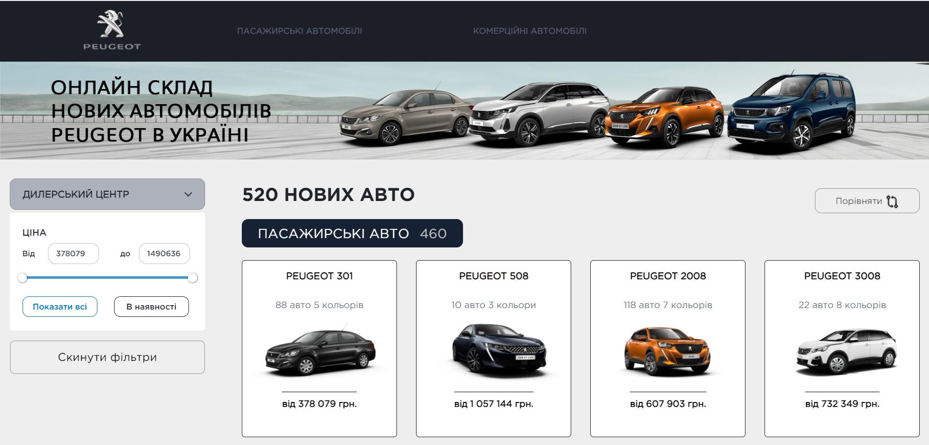 Новый онлайн склад PEUGEOT в Украине