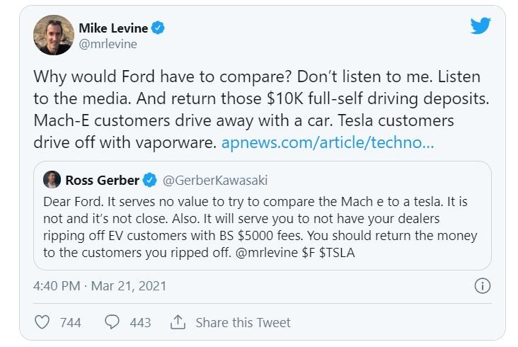 Форд троллит, Теслу продвигая свой электрический Mustang
